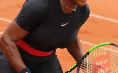 Serena Williams on the court during the  French Open in 2018.