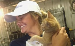 Carly Hancock with her kitten she rescued from the animal shelter.
