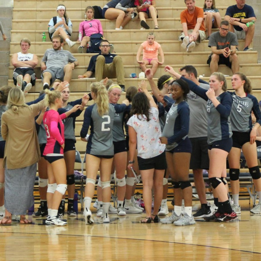 The+volleyball+team+in+a+huddle+during+a+game.