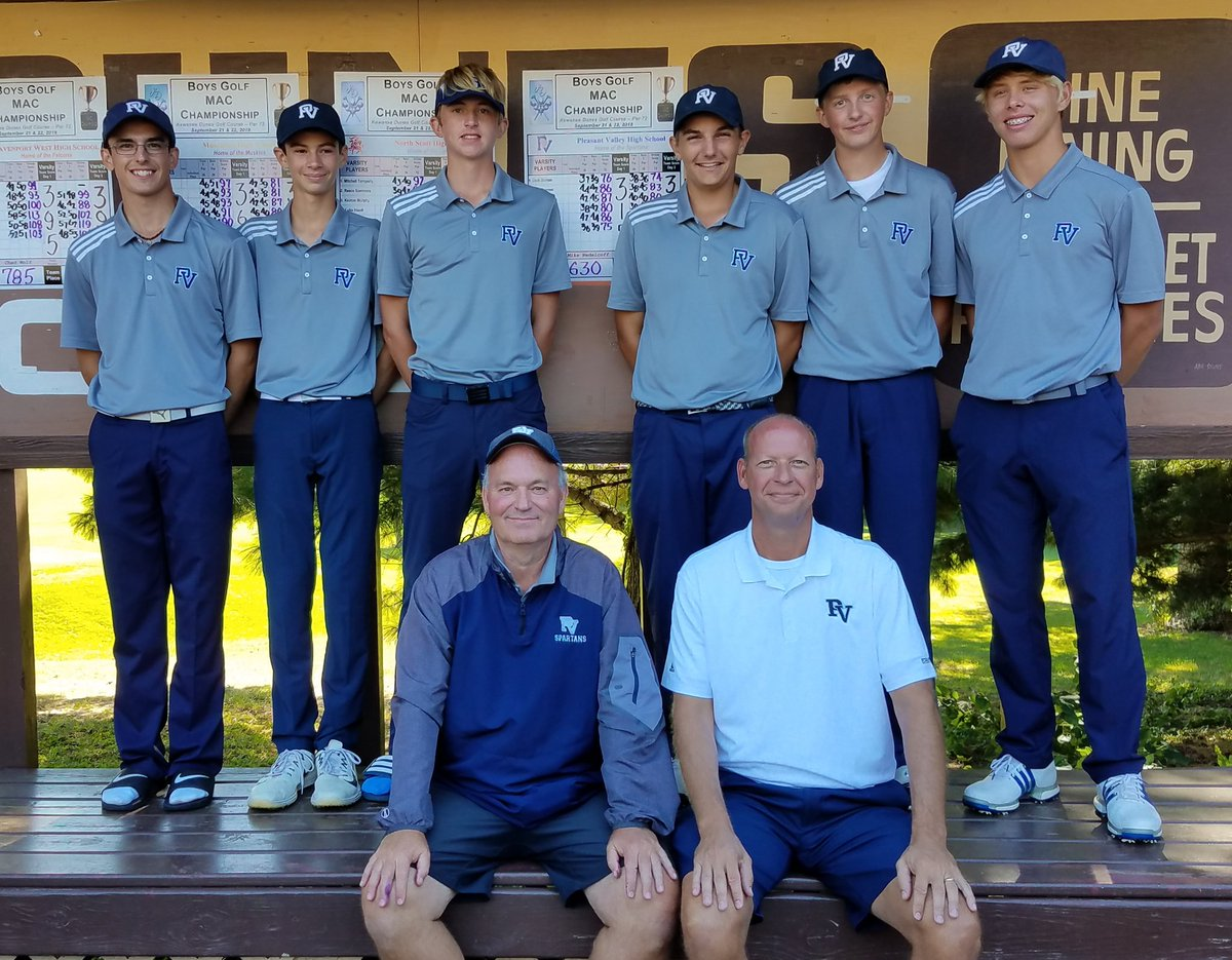 The Pleasant Valley boys golf team poses after winning MAC.