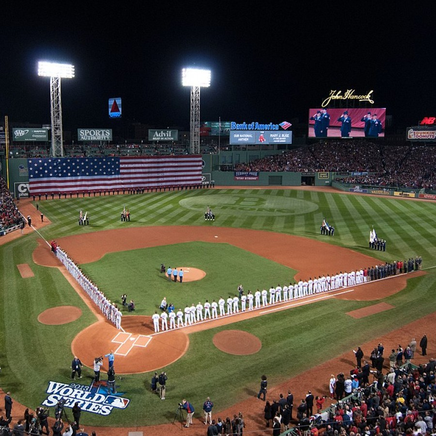 Two+baseball+teams+line+up+for+the+2013+World+Series.