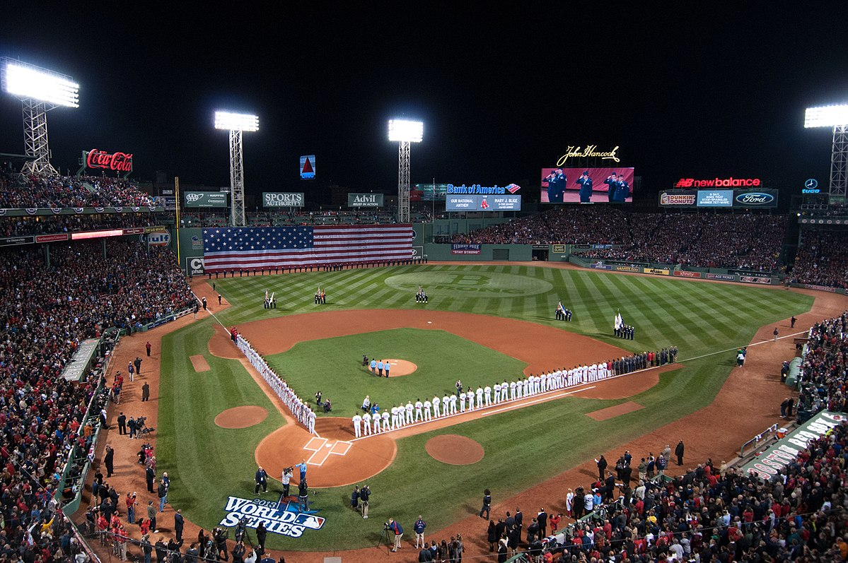 Two baseball teams line up for the 2013 World Series.