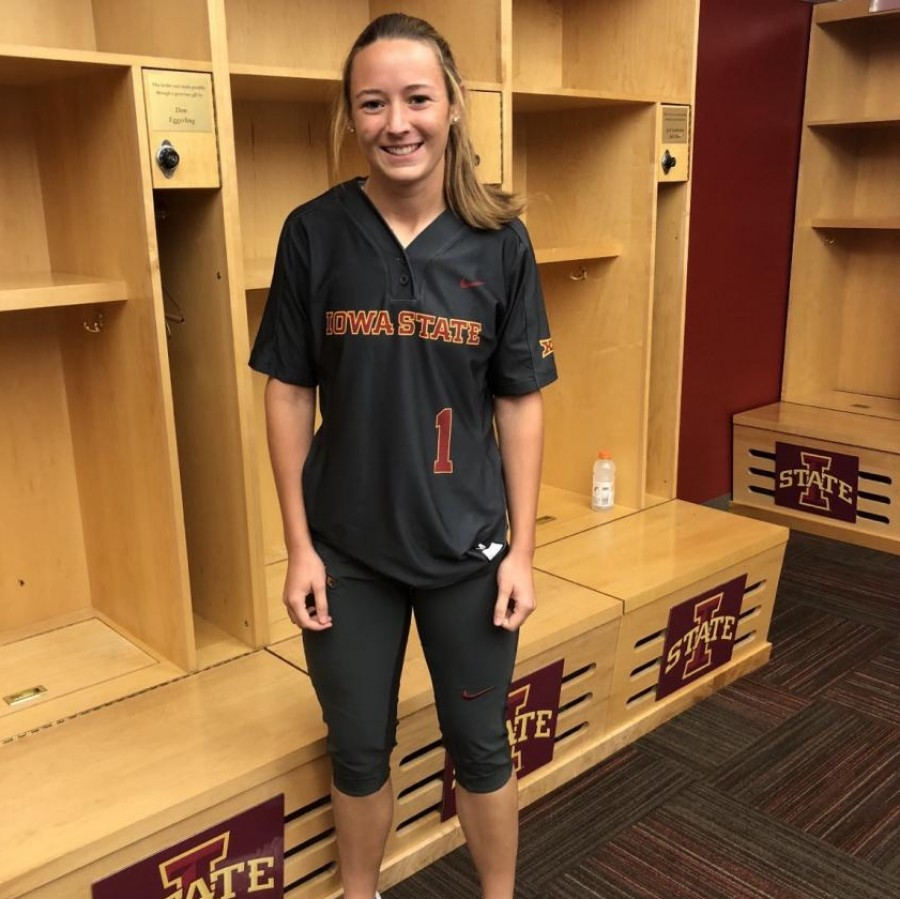 Senior Carly Spelhaug poses in a Iowa state jersey.