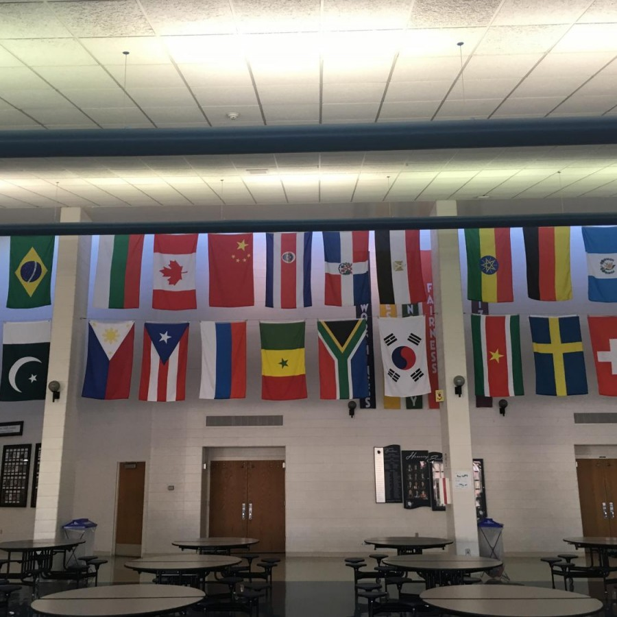 Flags+of+all+the+countries+that+PVHS+students+are+from+hang+in+the+cafeteria.+