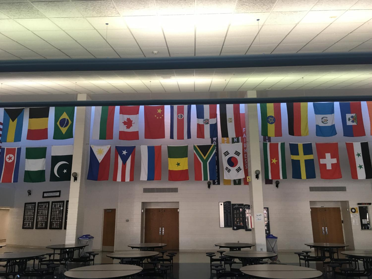 Flags of all the countries that PVHS students are from hang in the cafeteria.