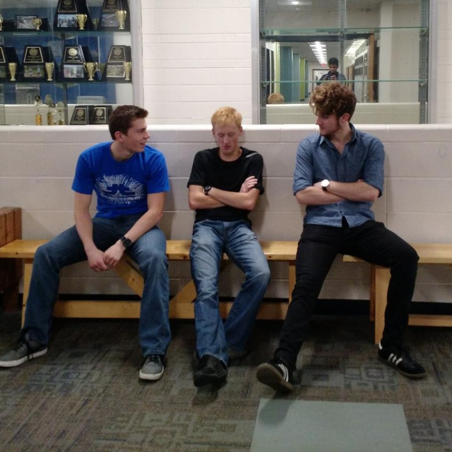 Suspended students sit on the bench between passing periods.