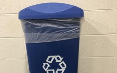 One of the many recycling bins set up around the Pleasant Valley high school.