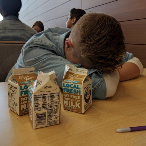 Phillip Philibacher suffers from an upset stomach after drinking his 3rd chocolate milk