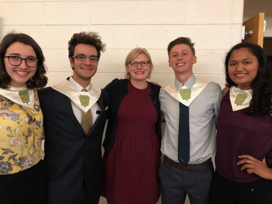NHS Executive members Natalie Murphy, Gui Pinho, Jacob Bandy, and Susan Anil with advisor Sara Russell at the NHS induction