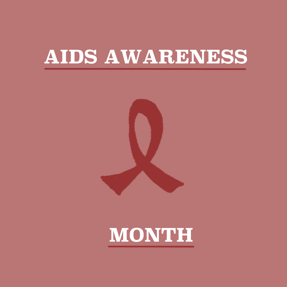 Hand-drawn image promoting AIDS Awareness Month.