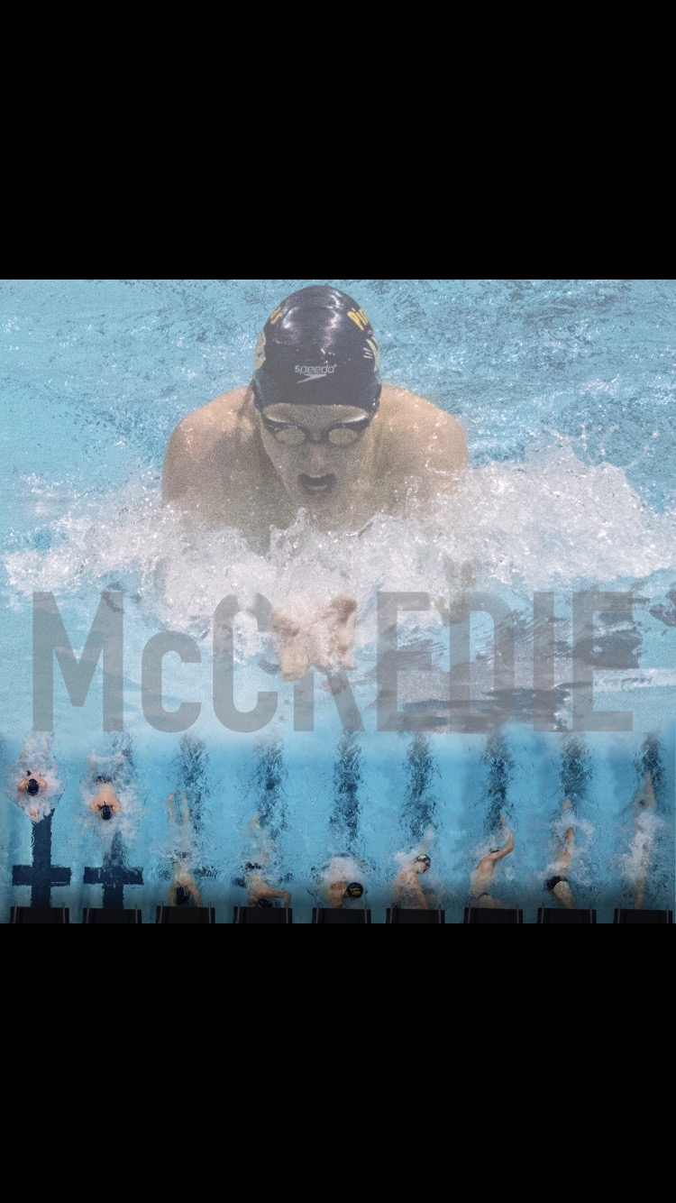 Senior Jacob McCredie is captured swimming breaststroke, his best stroke. He is currently one of the state's top breaststrokers.