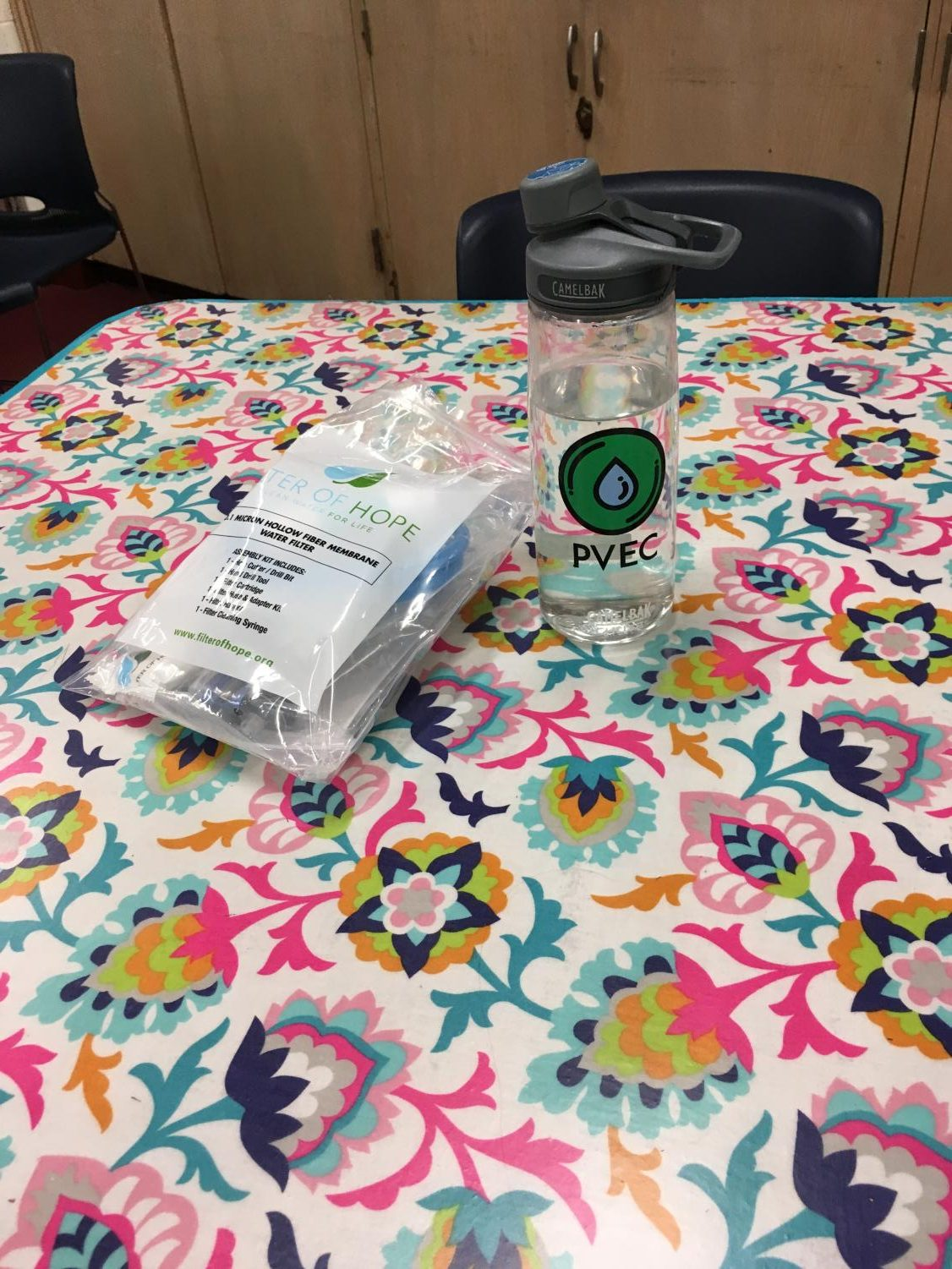 The water bottle that environmental club is selling to buy water filters,  like the one pictured above, for families in Haiti.