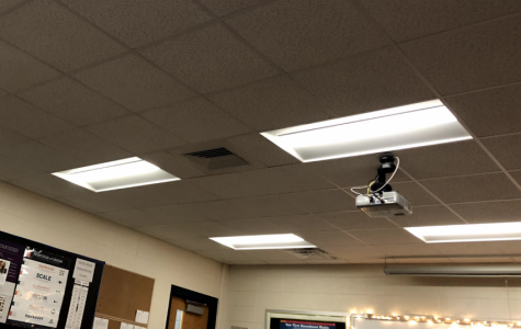 Fluorescent lighting in Mrs. Dyer's classroom.