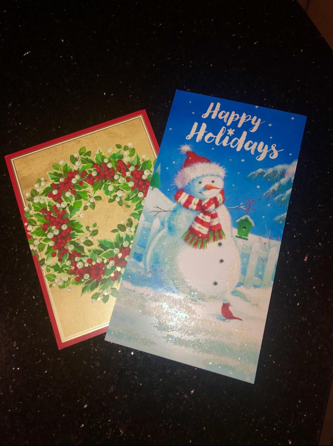 Christmas cards that families receive during the holiday season.