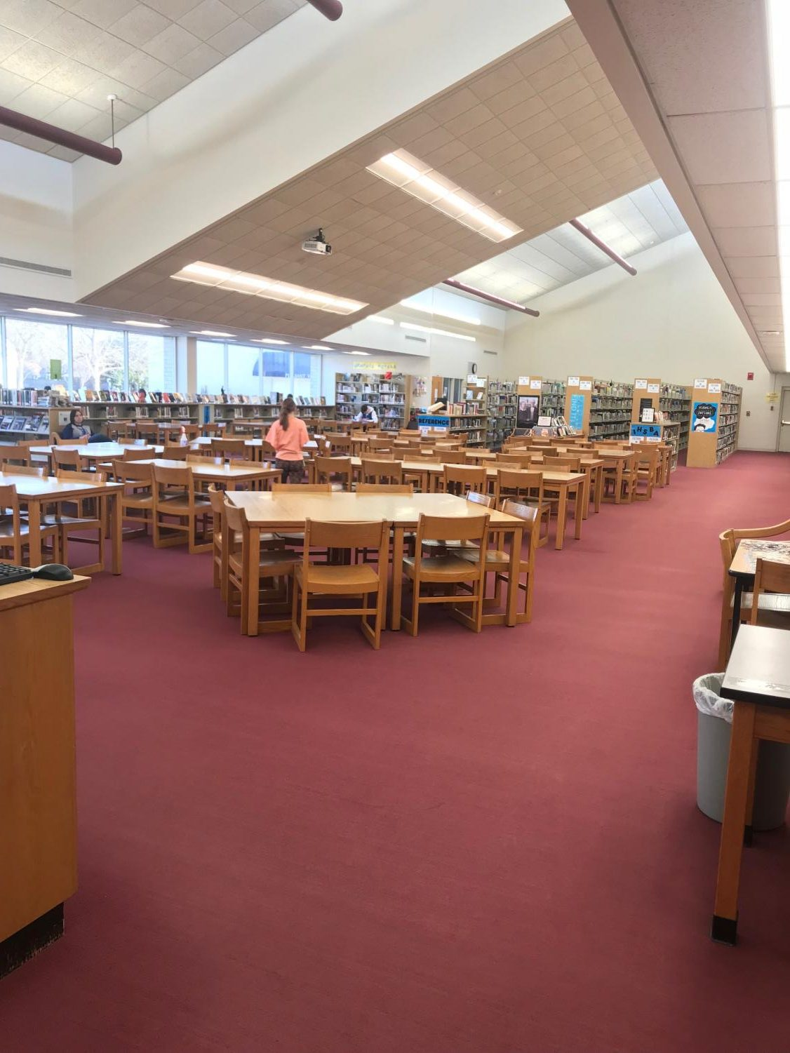 The high school library.