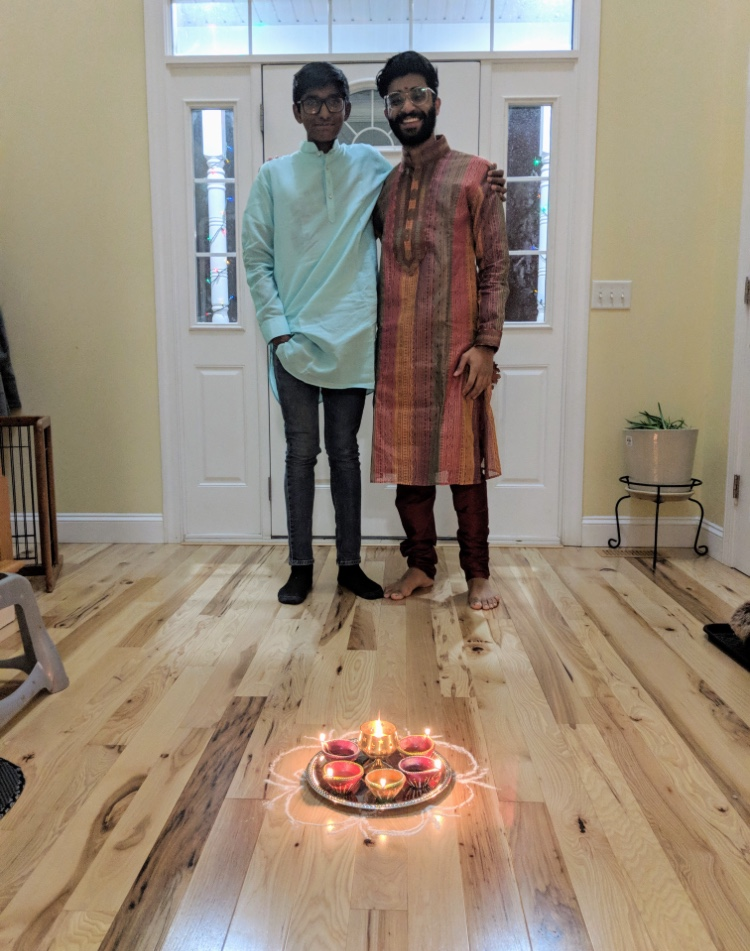 Senior Varun Vedula and Freshman Tarun Vedula celebrate the hindu holiday Diwali