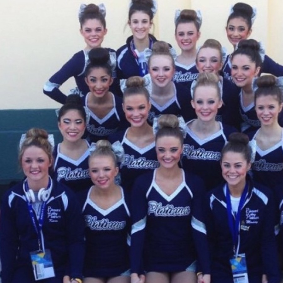 The+2015+Platinum+Dance+Team+poses+together+in+Orlando%2C+Fla.+before+performing+their+pom+routine.