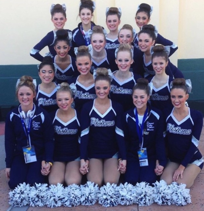 The 2015 Platinum Dance Team poses together in Orlando, Fla. before performing their pom routine.