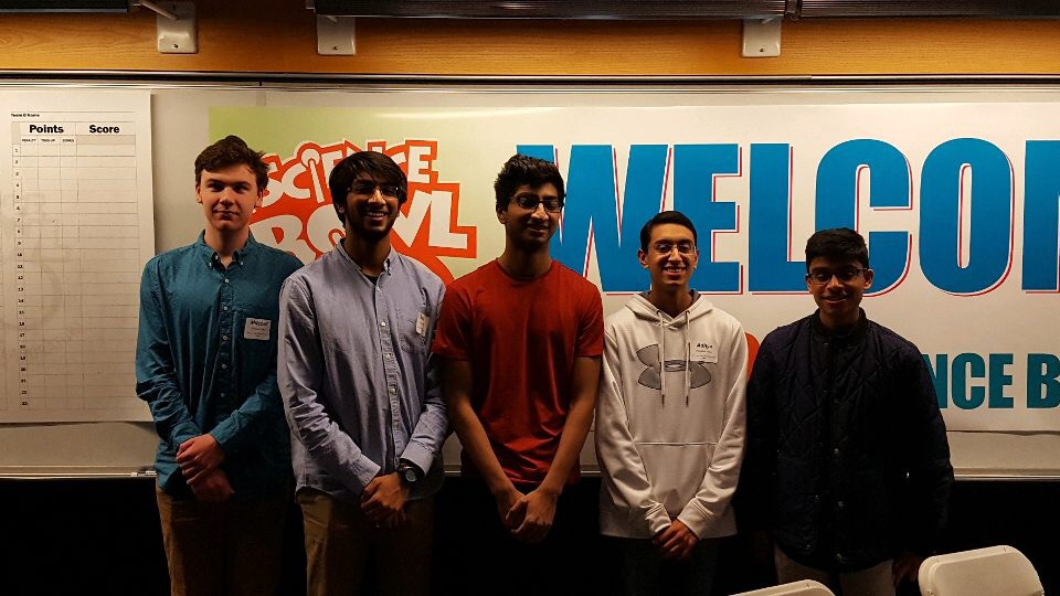 (Left to right) Mitchell Strobbe, Aman Manazir, Aadil Manazir, Aditya Desai, and Sujay Marisetty before the Ames Lab High School Science Bowl on January 26th.