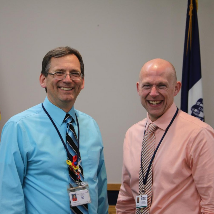 Mike+Zimmer%2C+left%2C+is+appointed+Pleasant+Valley%27s+new+Director+of+Secondary+Education.+He+and+Brian+Strusz%2C+the+district%27s+newly+appointed+superintendent+pictured+at+right%2C+will+begin+their+new+roles+this+summer.