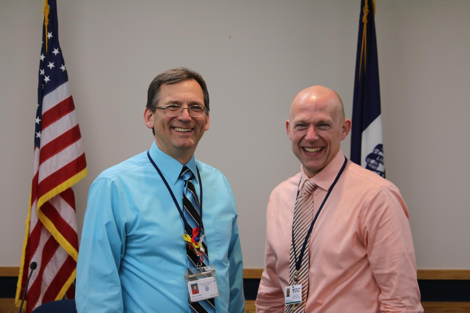 Mike Zimmer, left, is appointed Pleasant Valley's new Director of Secondary Education. He and Brian Strusz, the district's newly appointed superintendent pictured at right, will begin their new roles this summer.