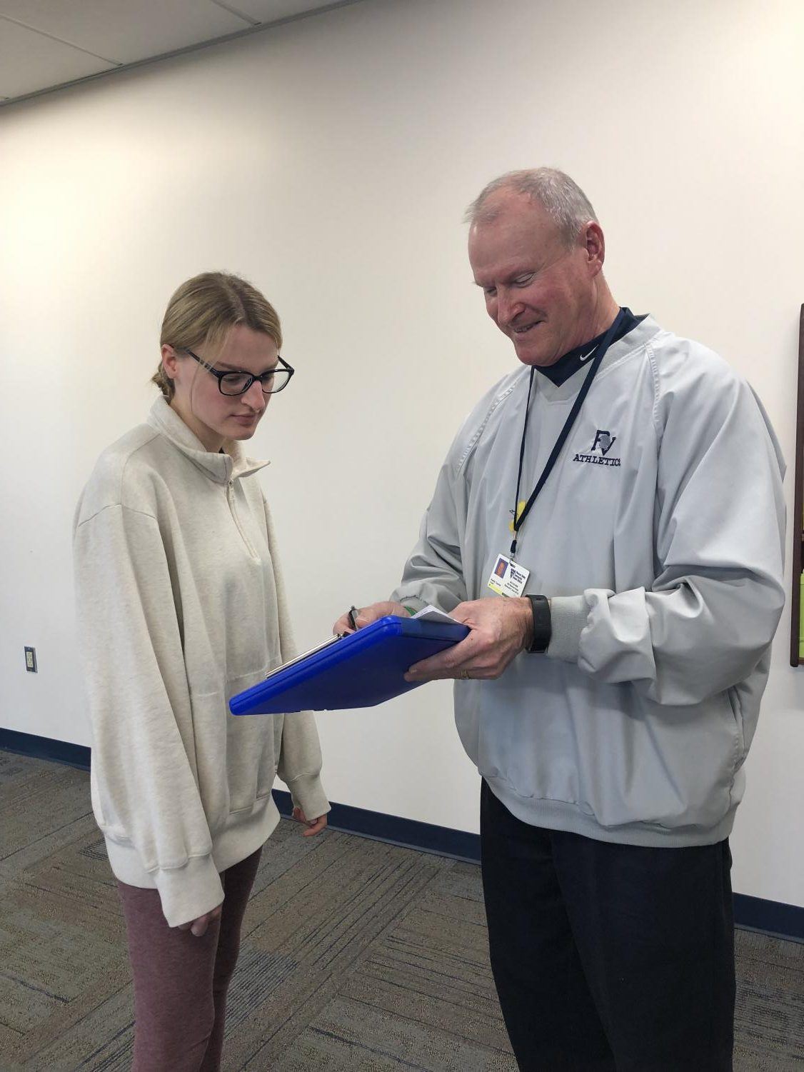 Senior Natalie Cremer looks glum after receiving a detention from Pleasant Valley High School's Dean of Students, Randy Teemer, during her fourth period study hall.