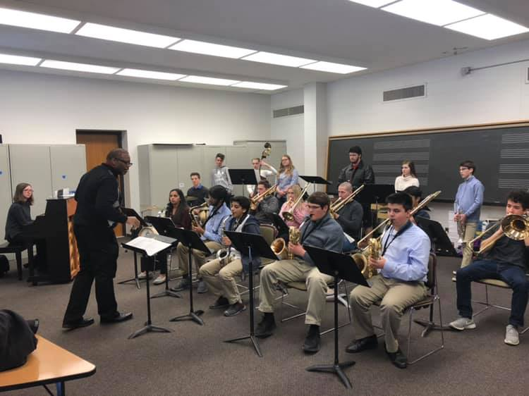 Jazz One students participating in their clinic with Dr. Reggie Thomas.