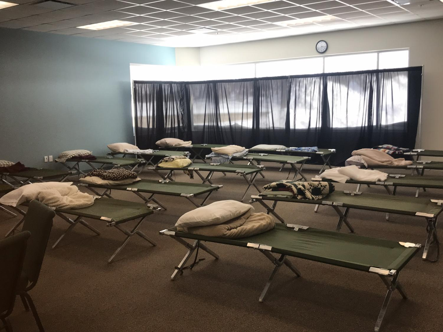 A room at Coram Deo Bible Church in Davenport was completely emptied and filled with cots for the homeless in anticipation of the incoming polar vortex on Jan 29.