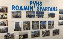 The hallway of PVHS proudly displays the memories of students who have studied abroad.