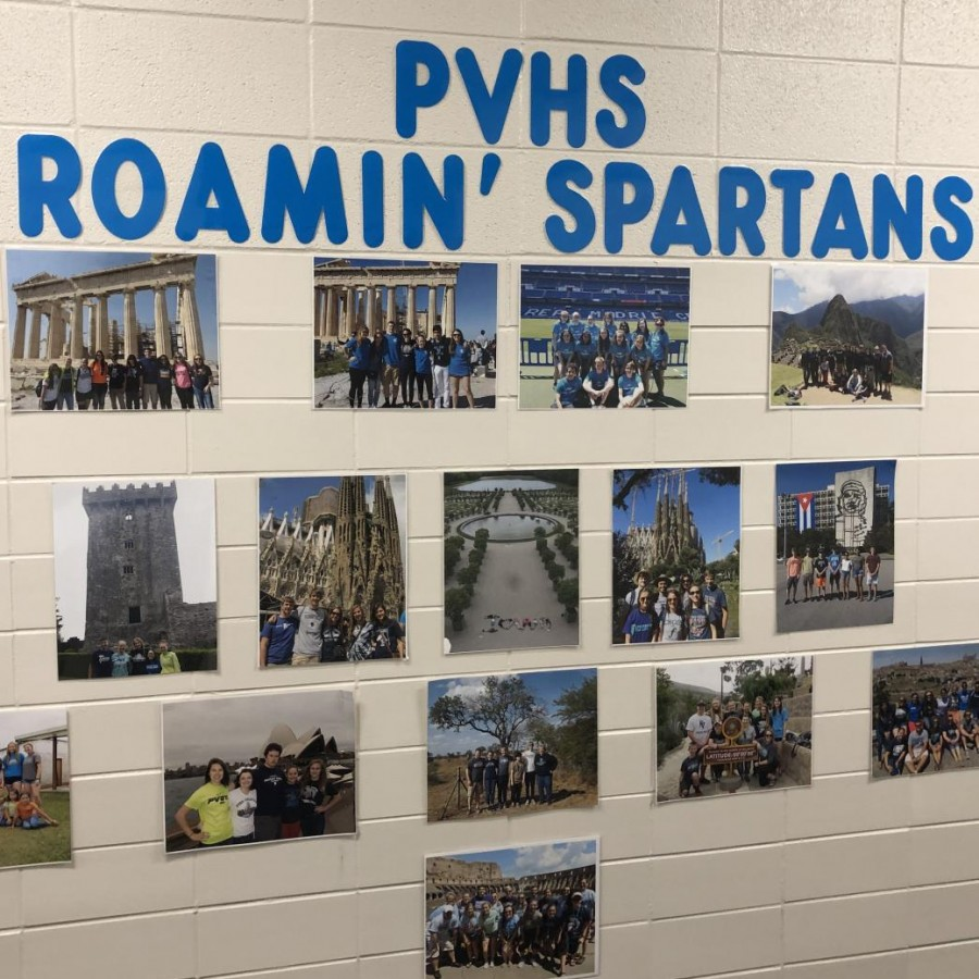 The+hallway+of+PVHS+proudly+displays+the+memories+of+students+who+have+studied+abroad.