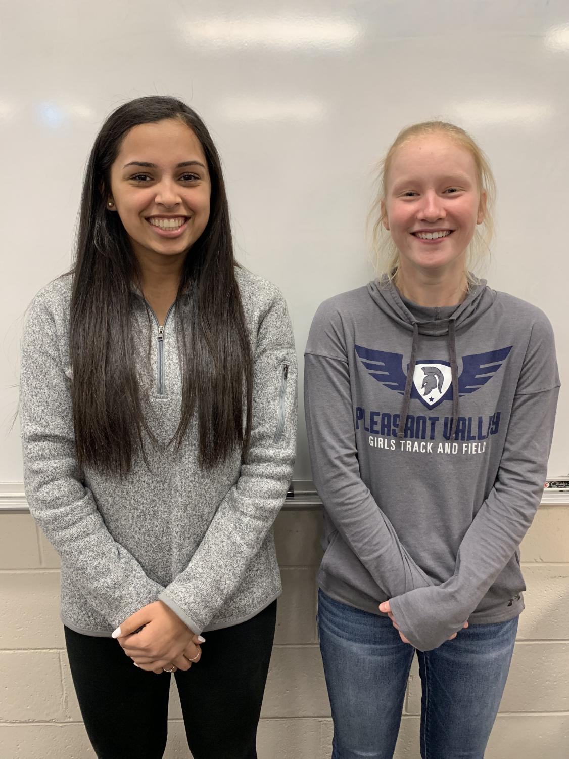 Shreya Khurjekar and Mallory Lafever together as the Pleasant Valley's nominees of the Iowa Governor's Scholars.