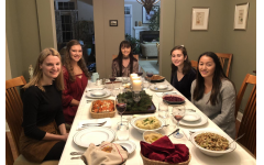 Mary Klingerhoefer (middle)  and her friends (right to left) Katie Oros, Caroline Christophersen, Emma Tews, and Natallie Cremer all share in a vegan friendsgiving
