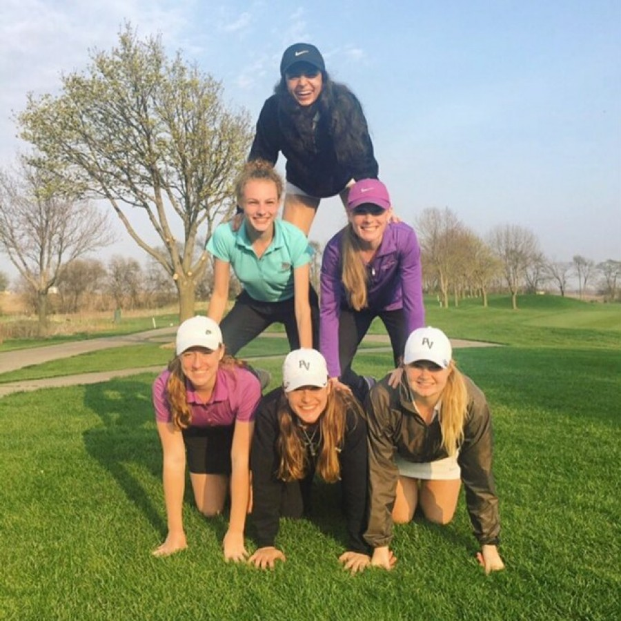 Members of the Girls Golf Team are full of smiles after North Scott meet at Glynn's Creek Golf Course in . From top to bottom: Madeline Patramanis, Alyssa Paulson, Brooke Harris, Lilly Parker, Allison Miller, and Danielle Henricksen