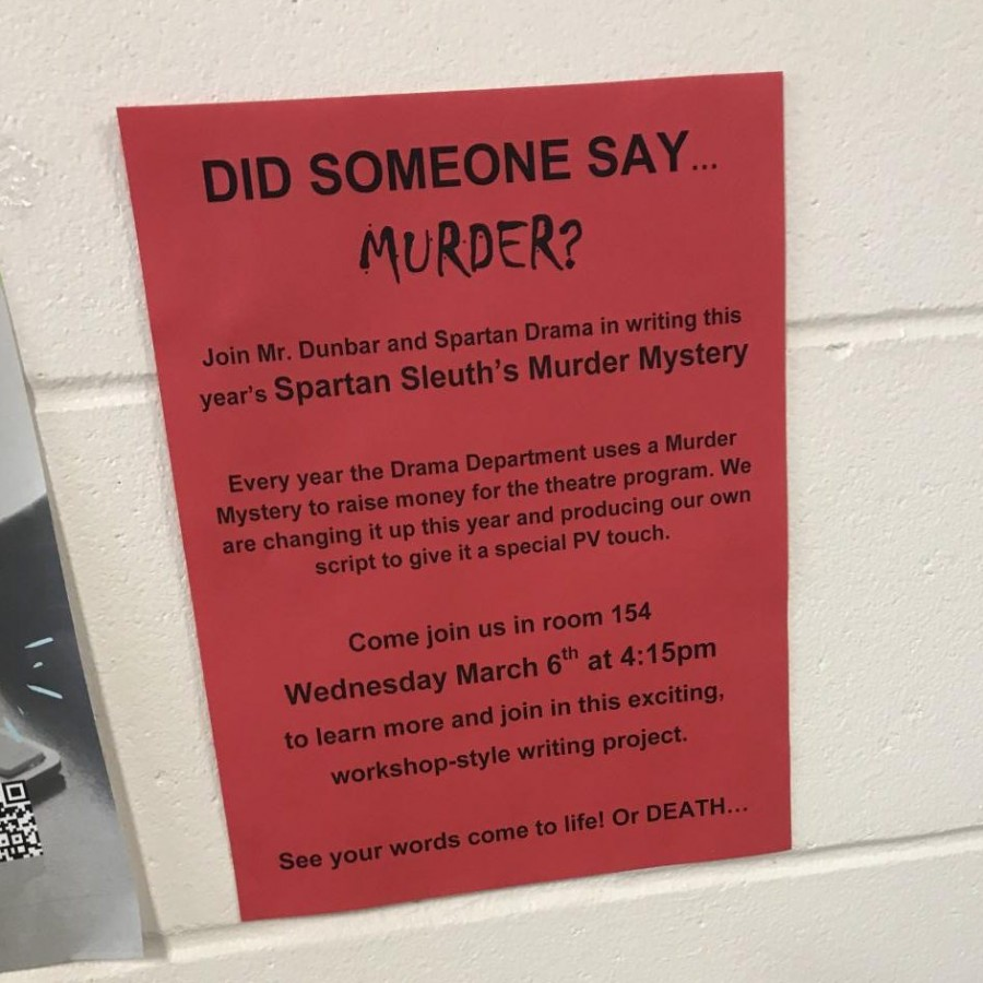 Fliers are placed around the school, inviting students to join the writing process of the script of this year's upcoming Spartan Sleuth's Murder Mystery