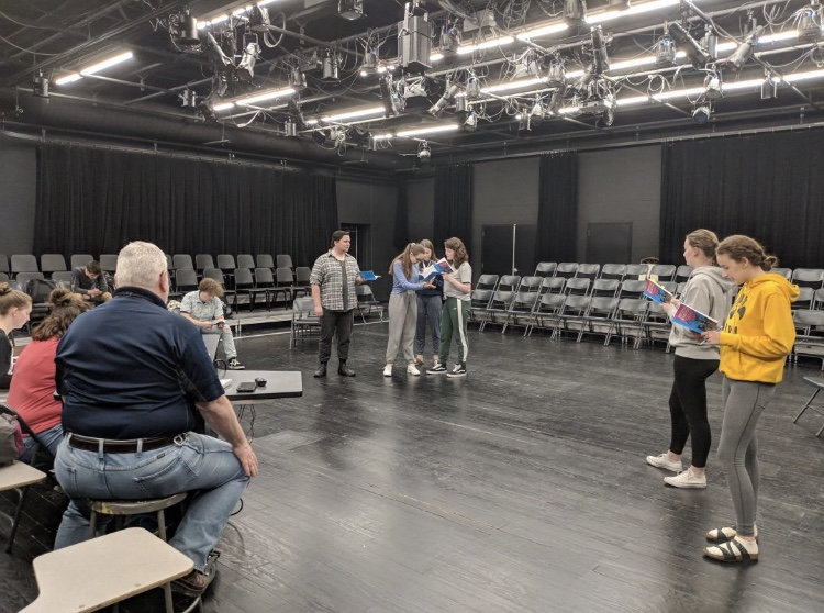 The cast of the show, She Kills Monsters, and their director, William Myatt, rehearse for their upcoming performances on April 26-27.