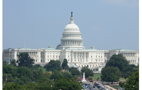 The U.S Capitol building where the two houses work to pass legislation regarding federal spending.