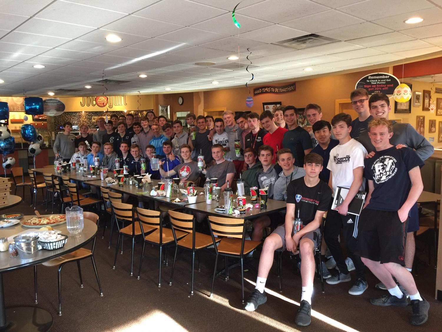 Pictured is the PV boys soccer team at a team dinner at Happy Joes.