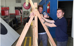 Engineering students take first place in the Trebuchet Egg Throw Competition