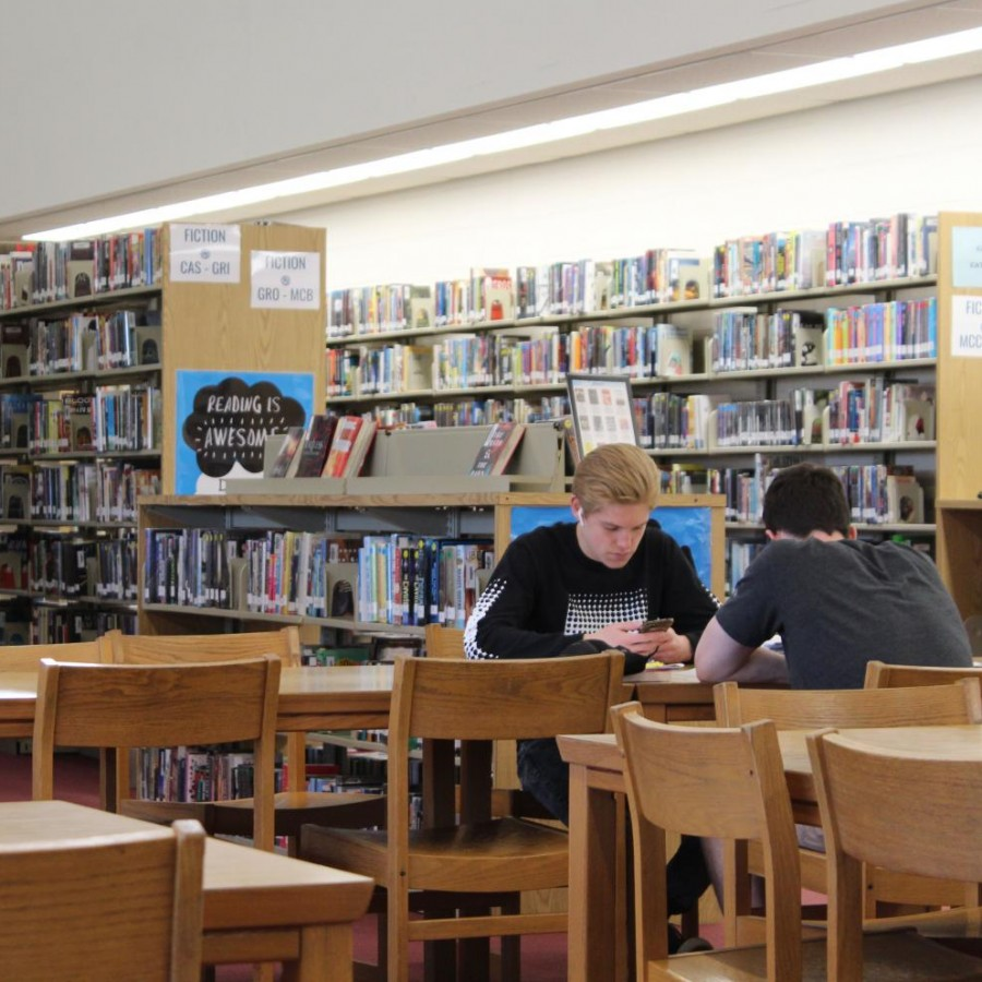 Pleasant Valley students using library resources in an open period.