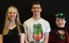 Sophie Curtis (left), Odin McDonald (center), and Jei Valle-Riestra (right) are the three students who received high honors at the QC Arts Invitational on April 4.