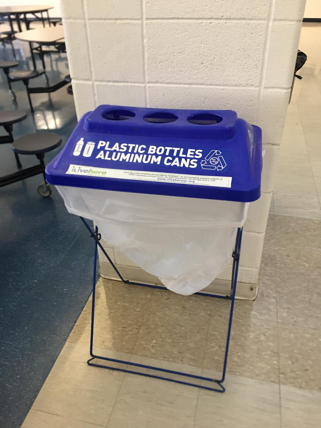 Recycling bins in the lunchroom are emptied into large containers outside and sent to the landfill across the Mississippi river.