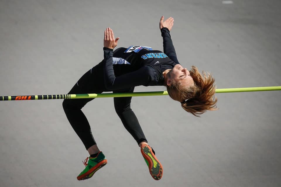Sara Hoskins making her 5'6 jump at Drake Relays, securing the second place finish for the Lady Spartans.