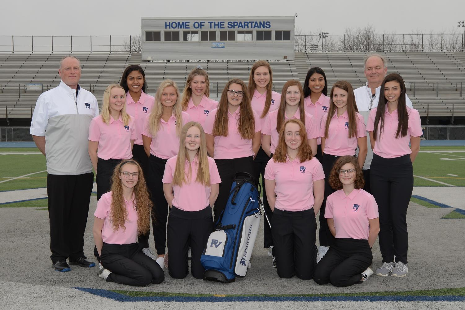 Although small in numbers, the mighty 2018-2019 PV Girls' Golf team smiles for a pre-season photo. The underclassmen dominated team is coached by Mike Nedelcoff and Sean Kingery.