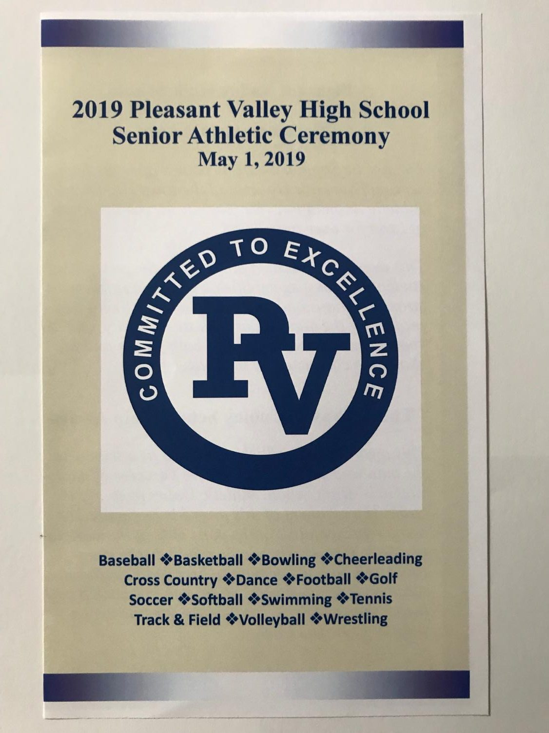 The program for the 2019 Senior Athletic Awards Night on May 1.