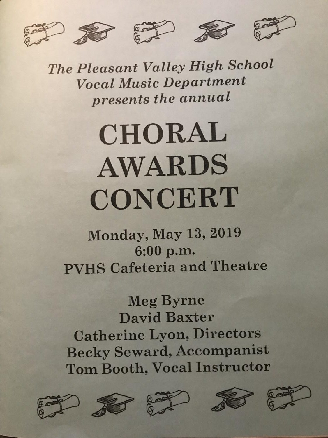 Program for the 2019 Choral Awards Concert on May 13.