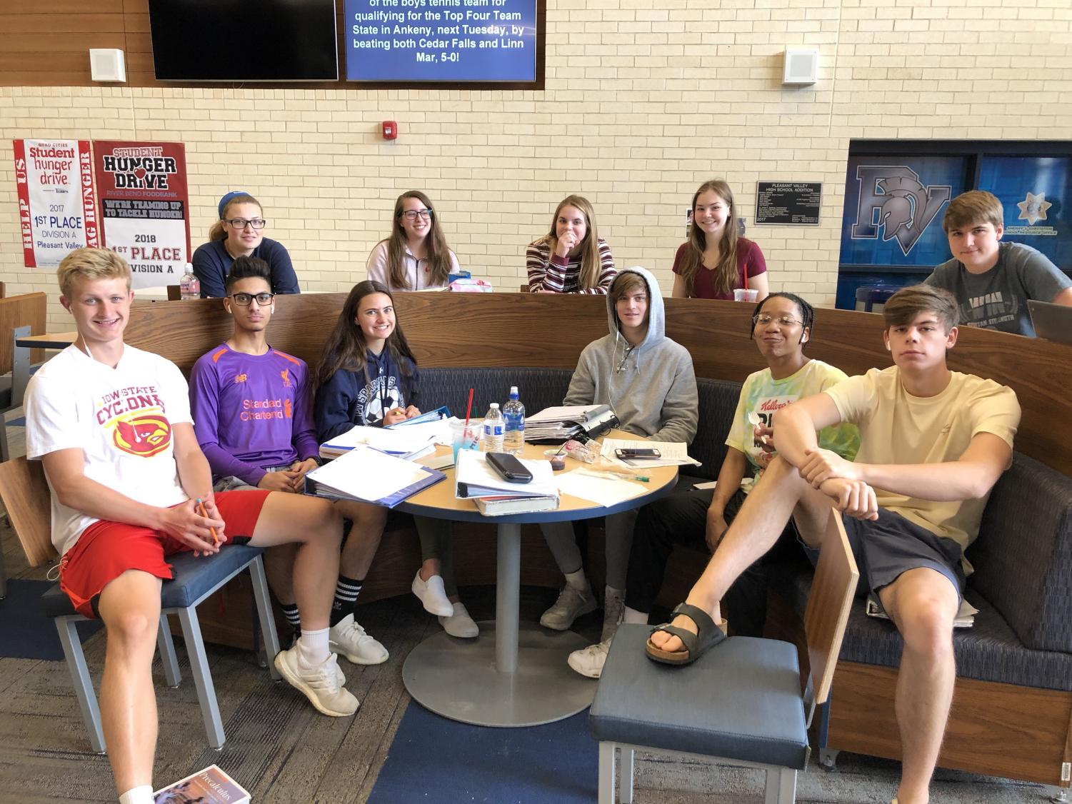 Pictured is some seniors as they prepare for their last few days of school.