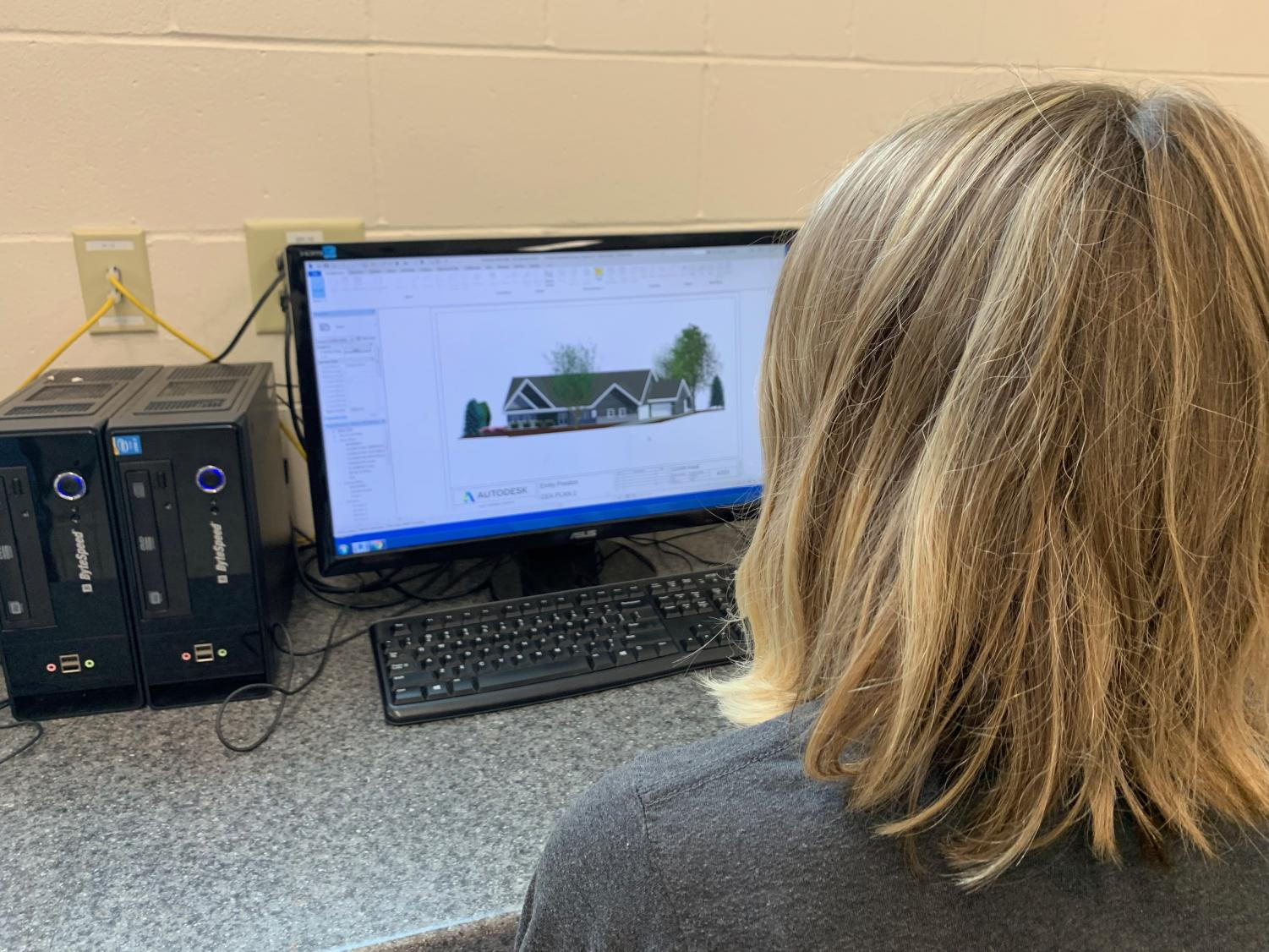 Senior Emily Preston working on the finishing touches of her project on Autodesk Revit.