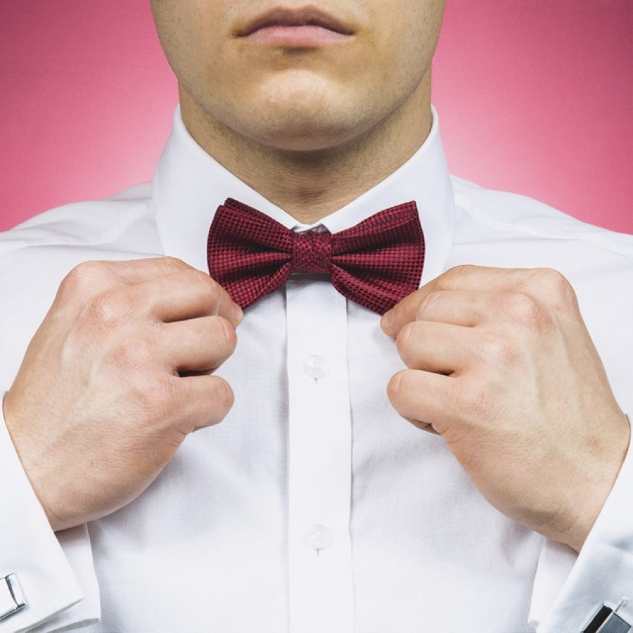 The iconic bowtie, often cheaters, or pre-tied, seen at high school proms.