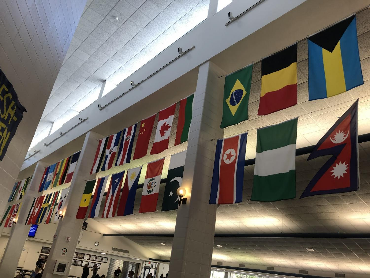 The flags in the cafeteria displaying PV's global community
