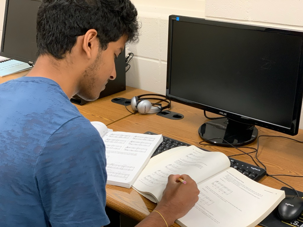 Sanjiv Iyer learns material for his AP Music Theory Exam